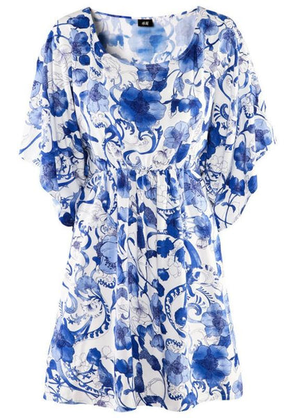 Casual Blue-White Floral Print Dolman Sleeve Dress
