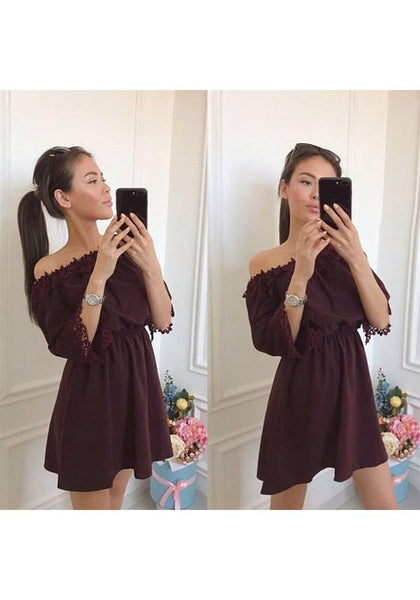Casual Brown Patchwork Lace Draped Off Shoulder 3/4 Sleeve Mini Dress
