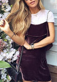 ByChicStyle Brown Plain Ruffle Square Neck Spaghetti Straps Pleuche Velvet Cute Mini Jumper Dress