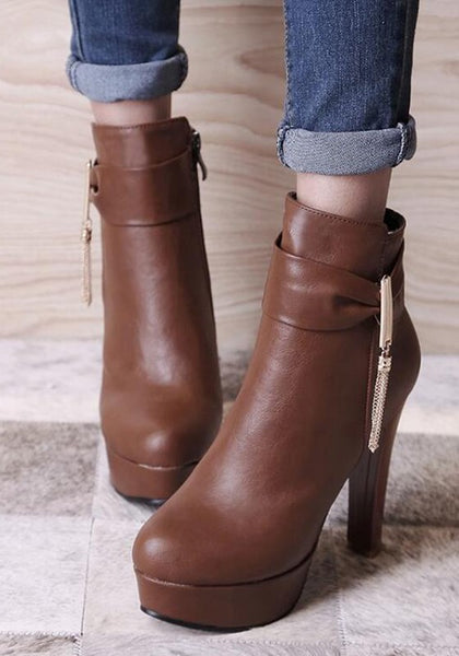 Casual Brown Round Toe Chunky Metal Chain Zipper Fashion Martin Boots
