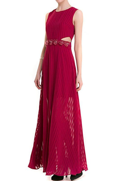 Casual Burgundy Patchwork Cut Out Draped Appliques Elegant Maxi Dress