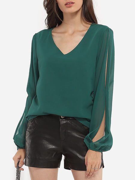 Loose Fitting V Neck Chiffon Hollow Out Plain Blouse - Bychicstyle.com