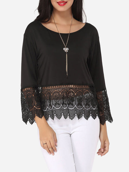 Lace Patchwork Plain Alluring Round Neck Long-sleeve-t-shirt - Bychicstyle.com
