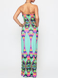 ByChicStyle Color Block Tribal Printed Tube Maxi Dress - Bychicstyle.com