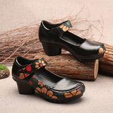 ByChicStyle Casual Printing Hook Loop Mid Heel Retro Casual Shoes