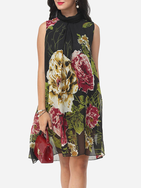 Floral Printed Courtly Shift Dress - Bychicstyle.com