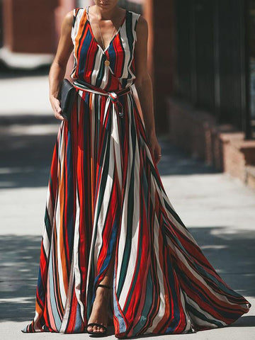 Striped Split-side Belted Maxi Dress