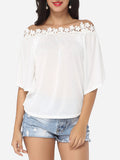 ByChicStyle Lace Plain Batwing Captivating Off Shoulder Short-sleeve-t-shirt - Bychicstyle.com