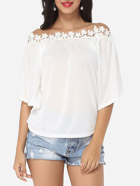 Lace Plain Batwing Captivating Off Shoulder Short-sleeve-t-shirt - Bychicstyle.com