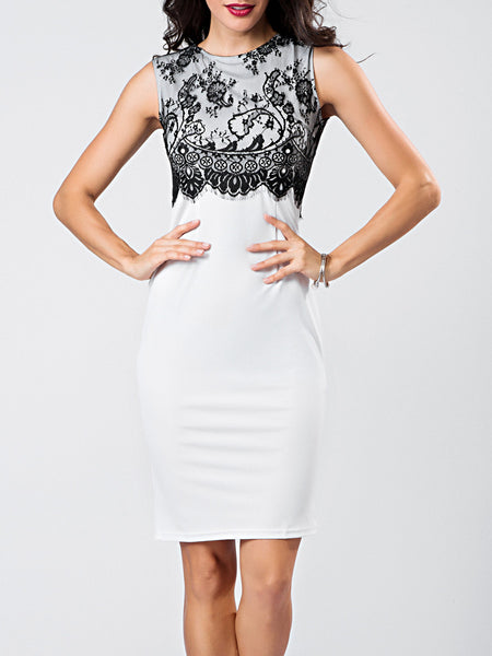 Round Neck Lace Patchwork Bodycon-dress - Bychicstyle.com
