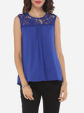 ByChicStyle Hollow Out Lace Patchwork Plain Exquisite Crew Neck Blouse - Bychicstyle.com