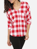 ByChicStyle Loose Fitting Pockets Single Breasted V Neck Cotton Plaid Blouse - Bychicstyle.com