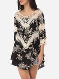 ByChicStyle Casual Assorted Colors Embroidery Hollow Out Printed Loose Fitting Chic Scoop Neck Short-sleeve-t-shirt