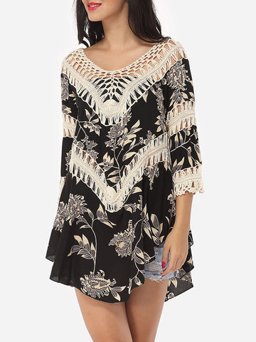 Casual Assorted Colors Embroidery Hollow Out Printed Loose Fitting Chic Scoop Neck Short-sleeve-t-shirt