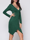 ByChicStyle Plain Split Captivating V Neck Bodycon Dress - Bychicstyle.com