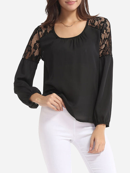 Scoop Neck Dacron Lace Patchwork Plain Blouse - Bychicstyle.com