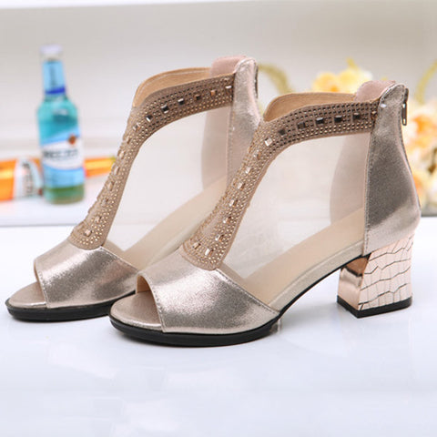 Casual Big Size Mesh Beaded Peep Toe Square Heel Zipper Shoes