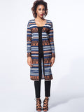 ByChicStyle Collarless Geometric Striped Cardigan - Bychicstyle.com