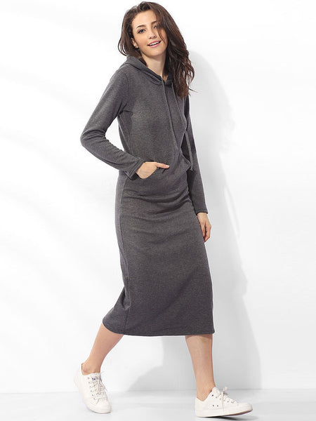 Casual Pockets Hooded Cotton Plain Maxi-dress