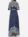 ByChicStyle Bohemian Printed Split Cross Straps Loose Fitting Charming V Neck Maxi-dress - Bychicstyle.com