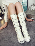 ByChicStyle High-top Side Zipper Mid high Canvas Boots