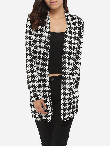 Cross Back Asymmetrical Hems Collarless Cotton Houndstooth Printed Overcoats - Bychicstyle.com