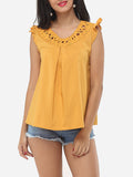 ByChicStyle Hollow Out Plain Falbala Delightful Round Neck Blouse - Bychicstyle.com