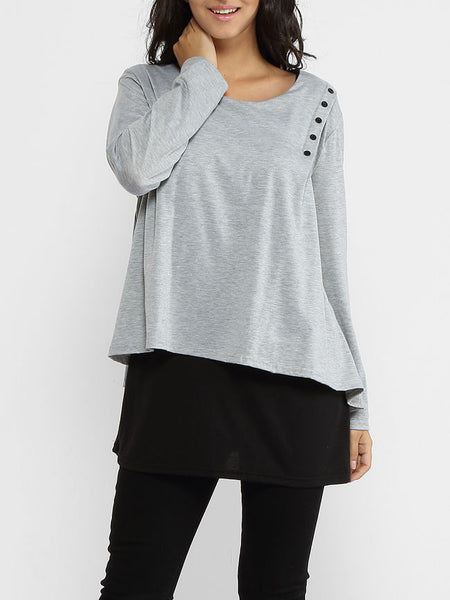 Round Neck Patchwork Long Sleeve T-shirt - Bychicstyle.com