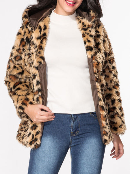 Hooded Leopard Printed Fluffy Coat - Bychicstyle.com