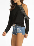 ByChicStyle One Shoulder Decorative Lace Plain Sweatshirt - Bychicstyle.com