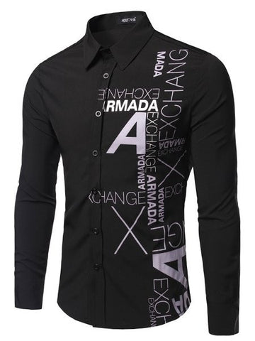 Letter Small Lapel Long Sleeve Men's Shirt - Bychicstyle.com