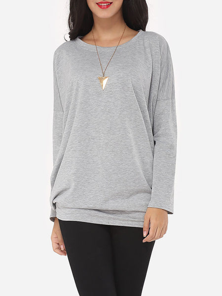 Plain Loose Fitting Delightful Round Neck Long-sleeve-t-shirt - Bychicstyle.com