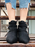 ByChicStyle Vintage Hollow Buckle Pointed Booties