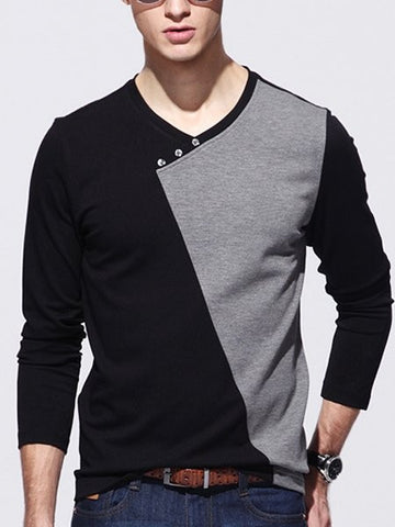 Casual Assorted Colors Decorative Buttons V Neck T-shirts