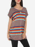 ByChicStyle Casual Assorted Colors Printed Striped Modern Round Neck Short-sleeve-t-shirt