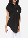 ByChicStyle Plain Modern Hooded Short Sleeve T-shirt - Bychicstyle.com