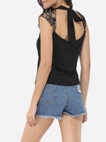 ByChicStyle Bowknot Halter Dacron Hollow Out Lace Patchwork Plain Sleeveless-t-shirt - Bychicstyle.com