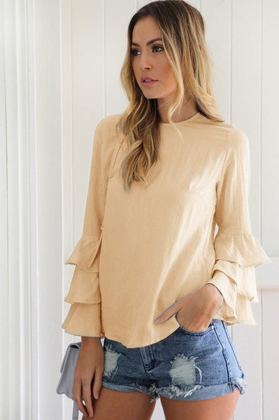 Casual Fashion Round Neckline Solid Color Top