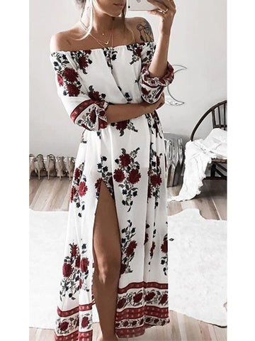 Streetstyle  Casual Fashion Bateau Off Shoulder Floral Print Dress