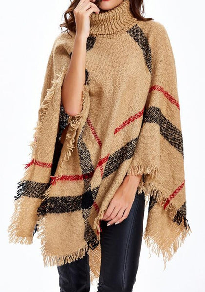 Casual Camel Striped Print Tassel Cape High Neck Fashion Pullover Sweater