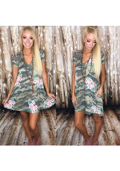 Casual Camouflage Floral Print Pockets V-neck Short Sleeve Casual Mini Dress