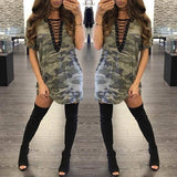 ByChicStyle Casual Camouflage Plain Drawstring Plunging Neckline Streetwear Polyester Mini Dress