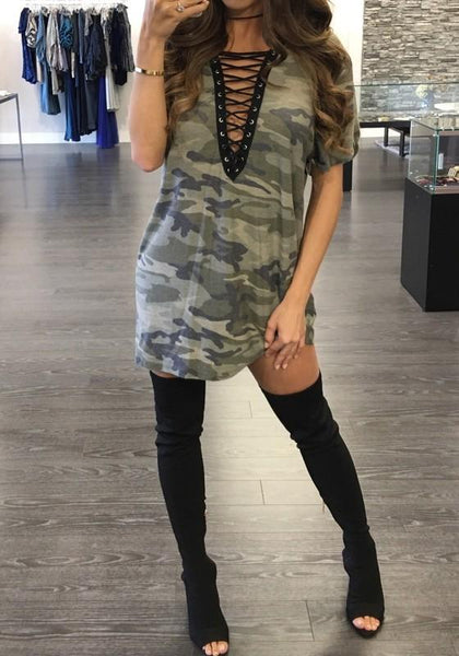 Casual Camouflage Plain Drawstring Plunging Neckline Streetwear Polyester Mini Dress