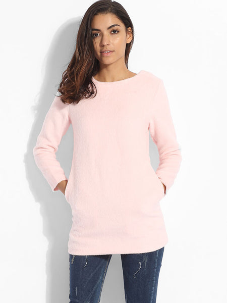 Casual Pockets Round Neck Knit Plain Sweater