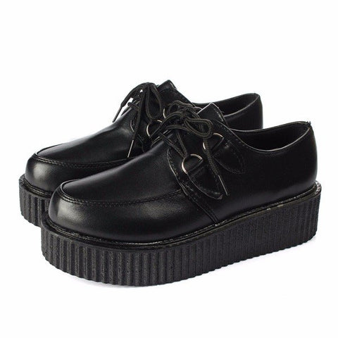 Casual Retro Pure Color Platform Flat Lace Up Shoes
