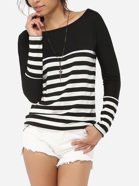 Boat Neck Dacron Striped Long-sleeve-t-shirt - Bychicstyle.com