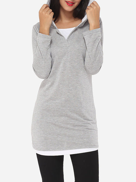 Contrast Trim Plain Hoodie - Bychicstyle.com