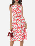 ByChicStyle Casual Assorted Colors Floral Printed Zips Delightful Round Neck Skater-dress