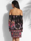 ByChicStyle Off Shoulder Cotton Assorted Colors Floral Printed Shift-dress - Bychicstyle.com