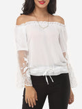 ByChicStyle Patchwork Captivating Off Shoulder Blouse - Bychicstyle.com